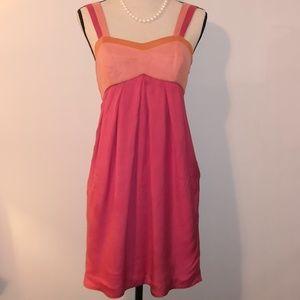 mint Pink, Peach, Orange Silk Dress